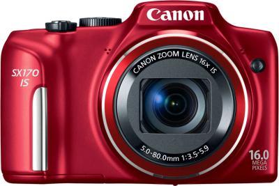 Компактный фотоаппарат Canon PowerShot SX170 IS (красный) - вид спереди