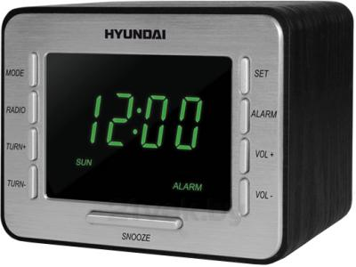 Радиочасы Hyundai H-1508 (Black-Green) - общий вид