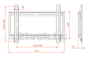 Кронштейн для телевизора Electric Light КБ-01-56 (Black) - габаритные размеры