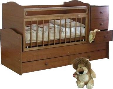 Детская кровать-трансформер Красная звезда Кирюша C859 (Орех) - общий вид