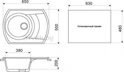 Мойка кухонная Gran-Stone GS-65 (антрацит) - габаритные размеры