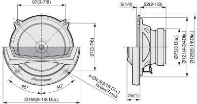 Компонентная АС Pioneer TS-A132CI - схема