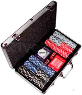 Набор для покера NoBrand B-1 (в чемодане, 300 фишек) - общий вид