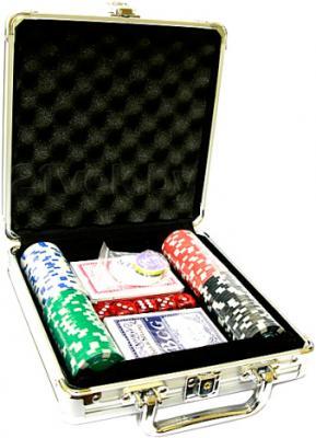 Набор для покера NoBrand M-1 (в чемодане, 100 фишек) - общий вид