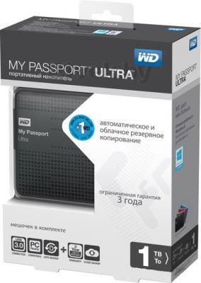 Внешний жесткий диск Western Digital My Passport Ultra 1TB Titanium (WDBJNZ0010BTT) - в упаковке