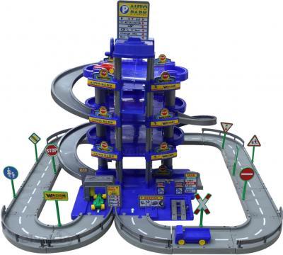 Машинка/транспорт/техника Полесье 4-уровневый с дорогой и автомобилями / 44716 (синий, в коробке) - общий вид