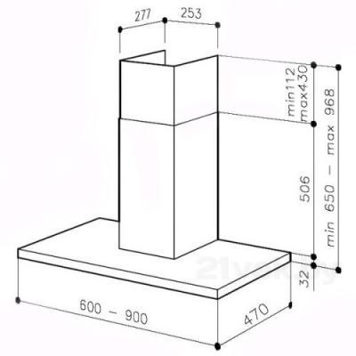 Вытяжка Т-образная Best KBASC180 (60, нержавеющая сталь) - схема