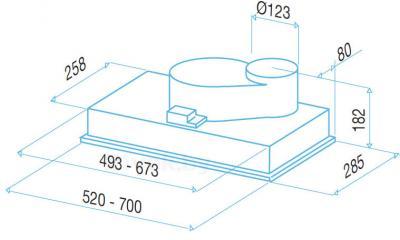 Вытяжка скрытая Best P740 (нержавеющая сталь) - схема