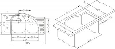 Мойка кухонная Alveus Futur 50 L (Latte) - размеры