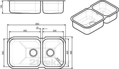Мойка кухонная Smeg UM4530 - габаритные размеры