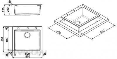Мойка кухонная Smeg LSE61P-2 - габаритные размеры
