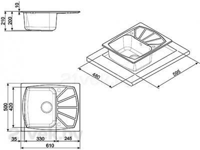 Мойка кухонная Smeg LSE611A-2 - габаритные размеры