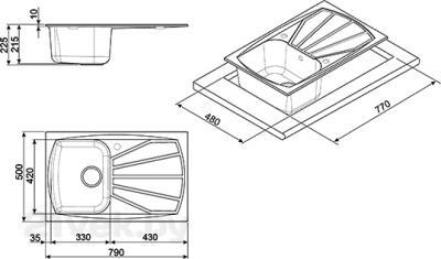 Мойка кухонная Smeg LSE791A-2 - габаритные размеры