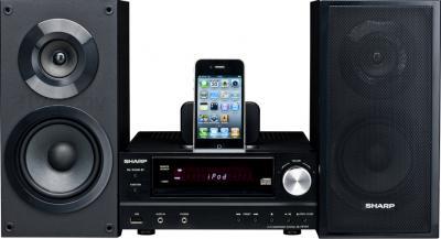 Минисистема Sharp XL-HF151PHBK - общий вид с подключенным iPod