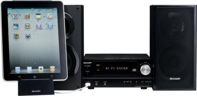 Минисистема Sharp XL-HF151PHBK - общий вид с подключенным iPad