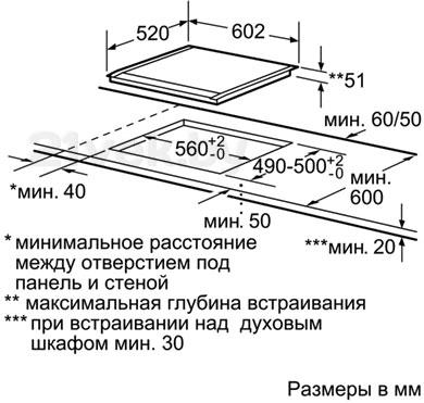 Индукционная варочная панель Siemens EH679MB17E - габаритные размеры