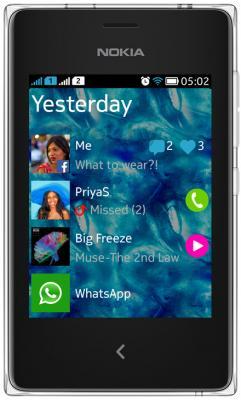 Мобильный телефон Nokia Asha 502 Dual (белый) - общий вид
