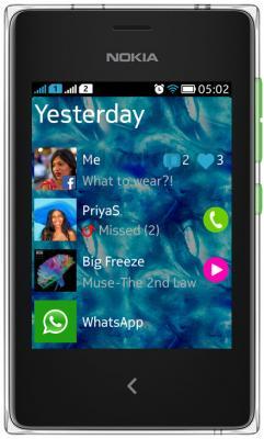 Мобильный телефон Nokia Asha 502 Dual (зеленый) - общий вид