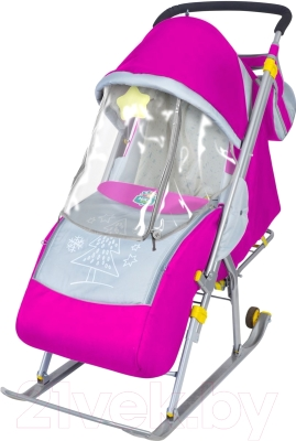 Санки-коляска Ника НД4 (розовые)