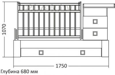 Детская кровать-трансформер СКВ 830038-9 (венге-бежевый) - размеры