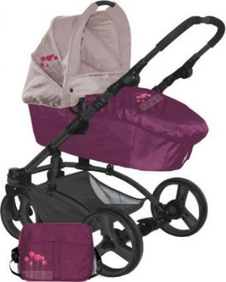 Детская универсальная коляска Lorelli Laguna (Violet Pink Flowers) - люлька