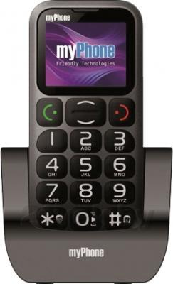 Мобильный телефон MyPhone 1045 (черный) - общий вид на подставке