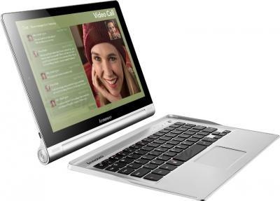 Планшет Lenovo Yoga Tablet 10 B8000 (59387964) - общий вид с клавиатурой (не входит в комплект)