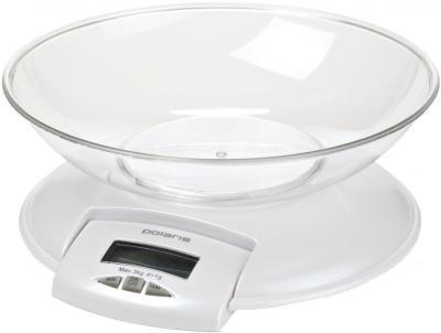 Кухонные весы Polaris PKS0513D Pearl White - вид спереди
