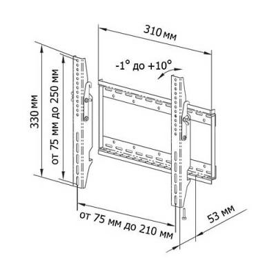 Кронштейн для телевизора Trone LPS 30-50 Silver - схема