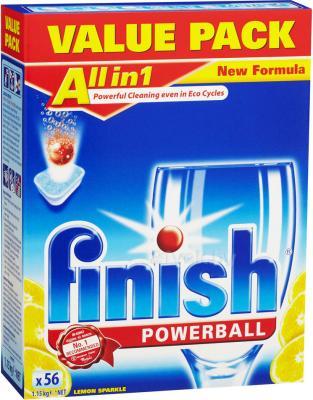 Таблетки для посудомоечных машин Finish All in One Лимон (56шт) - общий вид