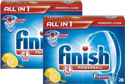 Таблетки для посудомоечных машин Finish All in One Лимон (28+28шт) - общий вид