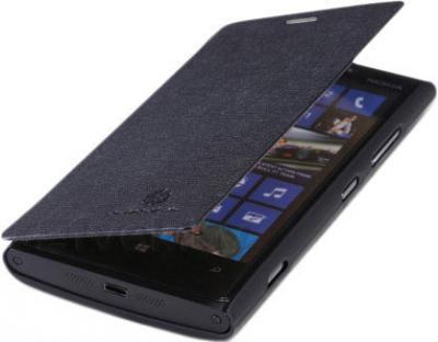 Чехол-флип для Nokia Lumia 920 Nillkin Crossed Style (Black) - в полураскрытом виде