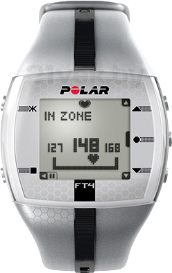 Пульсометр Polar FT4 (серебристо-черный) - вид спереди