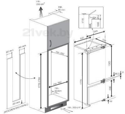 Холодильник с морозильником Teka TKI2 325 DD - схема монтажа