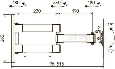 Кронштейн для телевизора Kromax Techno-12 (темно-серый) - габаритные размеры