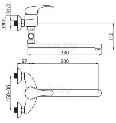 Смеситель Rubineta Prince P-12/C Sher - схема
