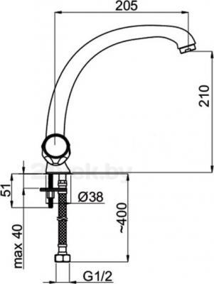 Смеситель Rubineta Rubin R-8 Cross Lux - схема