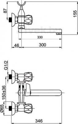 Смеситель Rubineta Rubin Ceramik C-1 (С) (К) Cross - схема