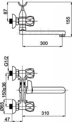 Смеситель Rubineta Milano-1 (C) (K) - схема