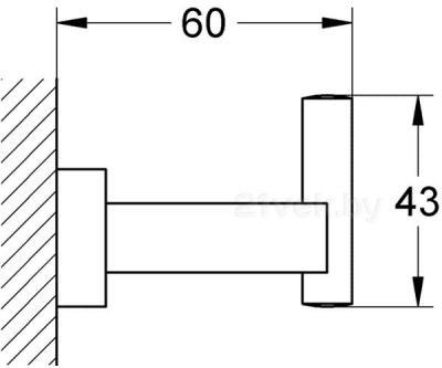 Крючок для ванны GROHE Essentials Cube 40511000 - габаритные размеры