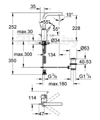 Смеситель GROHE Essence 32628000 - схема