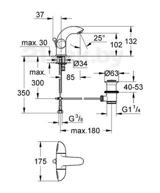 Смеситель GROHE Aria 21091000 - схема