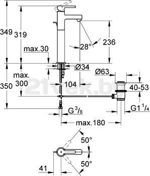 Смеситель GROHE Lineare 32250000 - схема