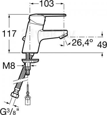 Смеситель Roca Victoria A5A3125C00 - размеры