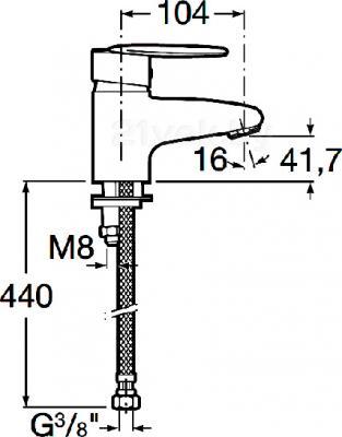 Смеситель Roca Vectra 5A3161C00 - размеры