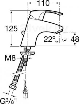 Смеситель Roca Monodin 5A3107C00 - размеры
