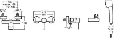 Смеситель Roca Targa 5A2060C02 - размеры