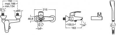 Смеситель Roca Monodin 5A0107C00 - размеры
