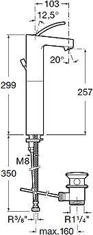 Смеситель Roca Moai 5A3446C00 - схема
