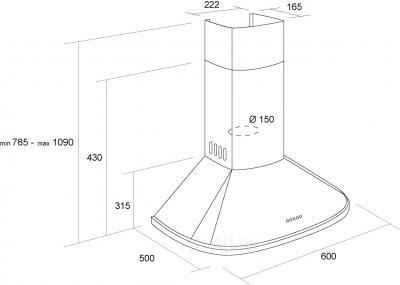 Вытяжка купольная Pyramida N 60 (нержавеющая сталь) - схема